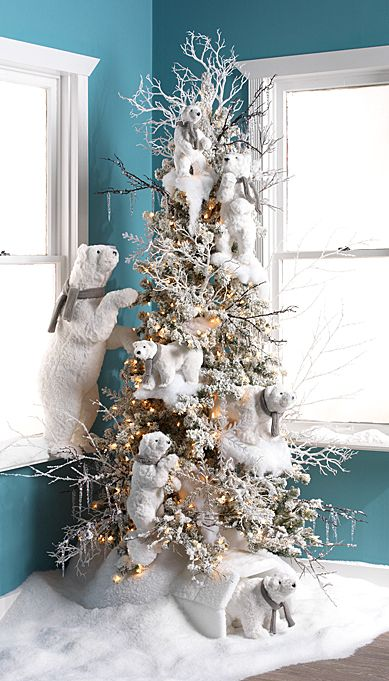 30 Dreamy Flocked Christmas Tree Decoration Ideas  Christmas Celebration  All about Christmas