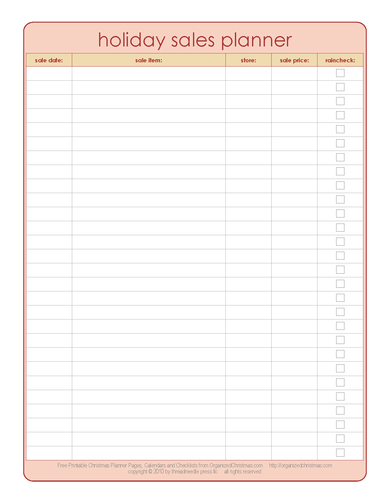 Black Friday Holiday Sales Planner