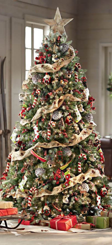 Decorated Christmas Tree With Ribbon