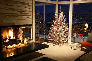 An aluminum Christmas tree in Bellevue, Washin...