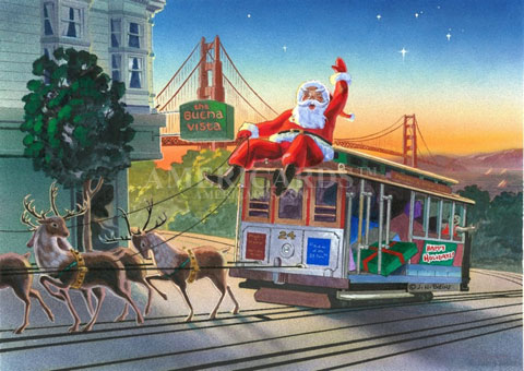 Christmas Card 06 Santa Sighted By Buena Vista Cafe In