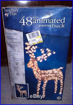 Animated Grapevine Lighted Deer Buck and Doe Set Indoor