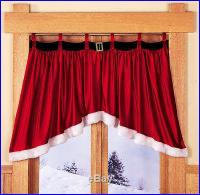 Velveteen Santa Belt Window Treatment Valance Christmas ...