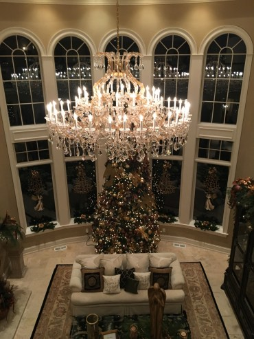Christmas tree shown from balcony