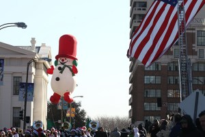 Frosty the Snowman balloon at the 2013 Ameren Missouri Thanksgiving Day Parade.
