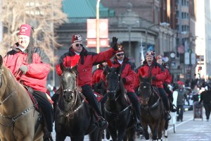 Moolah Shriners on horseback at the 2013 Ameren Missouri Thanksgiving Day Parade.