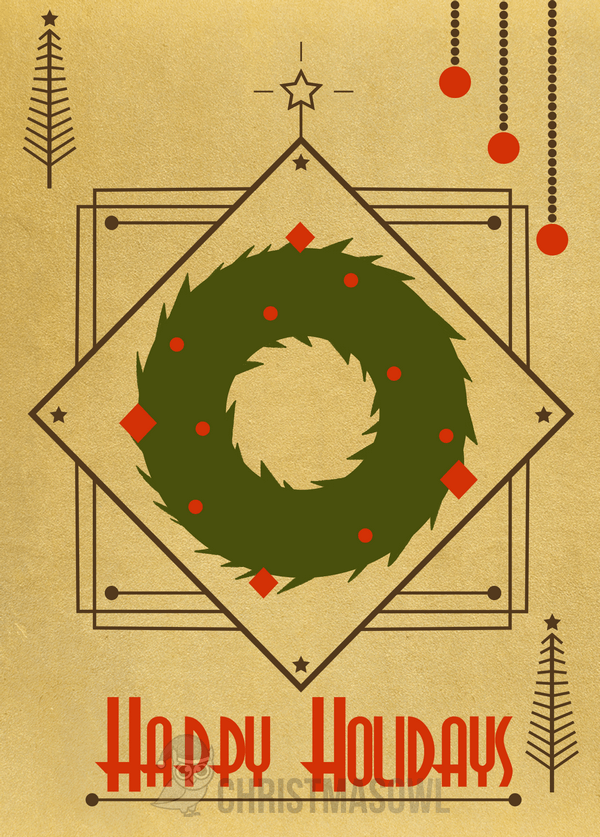 Printable Art Deco Christmas Card