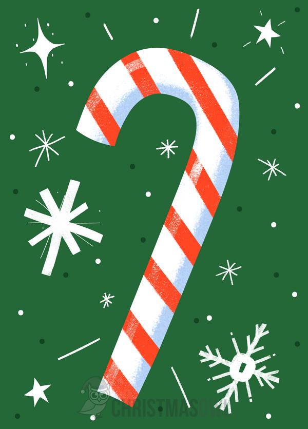 Printable Candy Cane Christmas Card