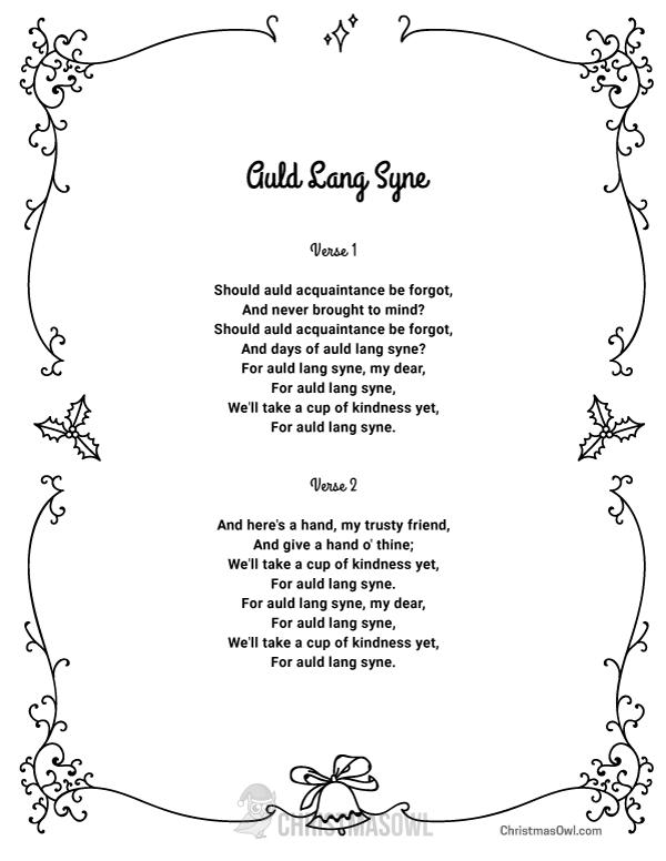 Free Printable Lyrics For Auld Lang Syne