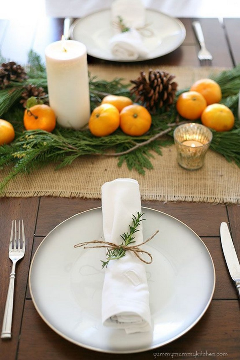 Our Christmas dinner table last year. I loved how natural, inexpensive, and pretty it was