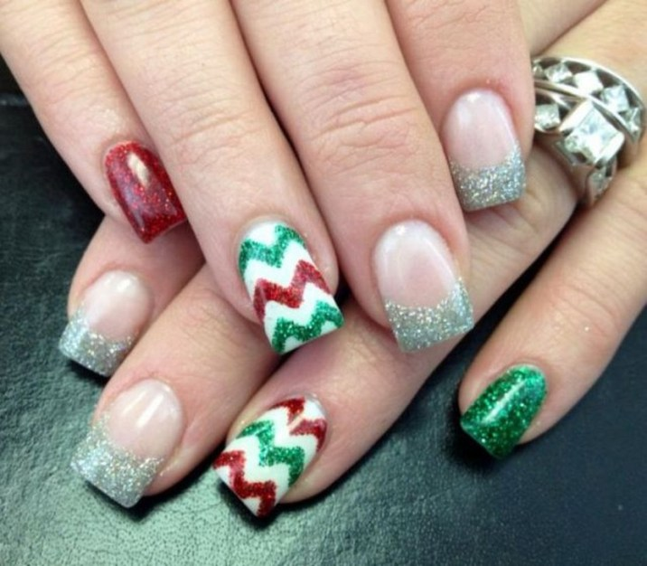 Cute for first pair of acrylic nails for me since I'm supposed to be - 30 Festive Christmas Acrylic Nail Designs – Christmas Photos