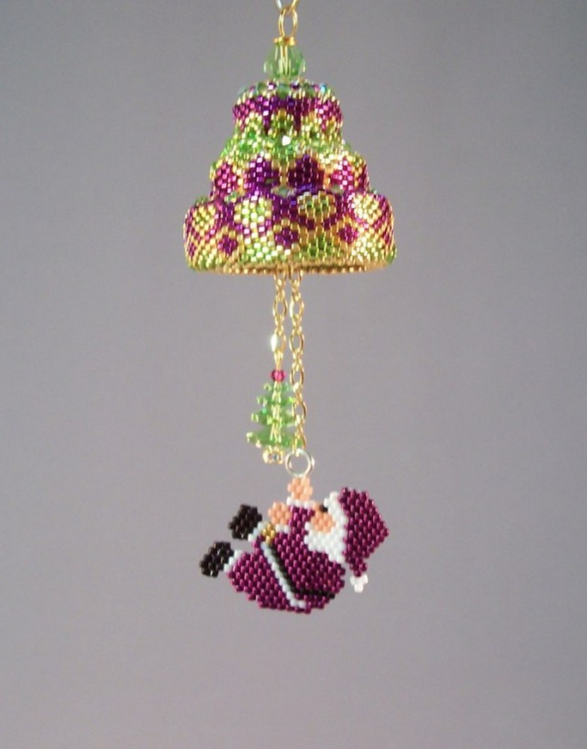 Beaded bell with Santa using fuchsia and lime delica beads and a peridot crystal tree