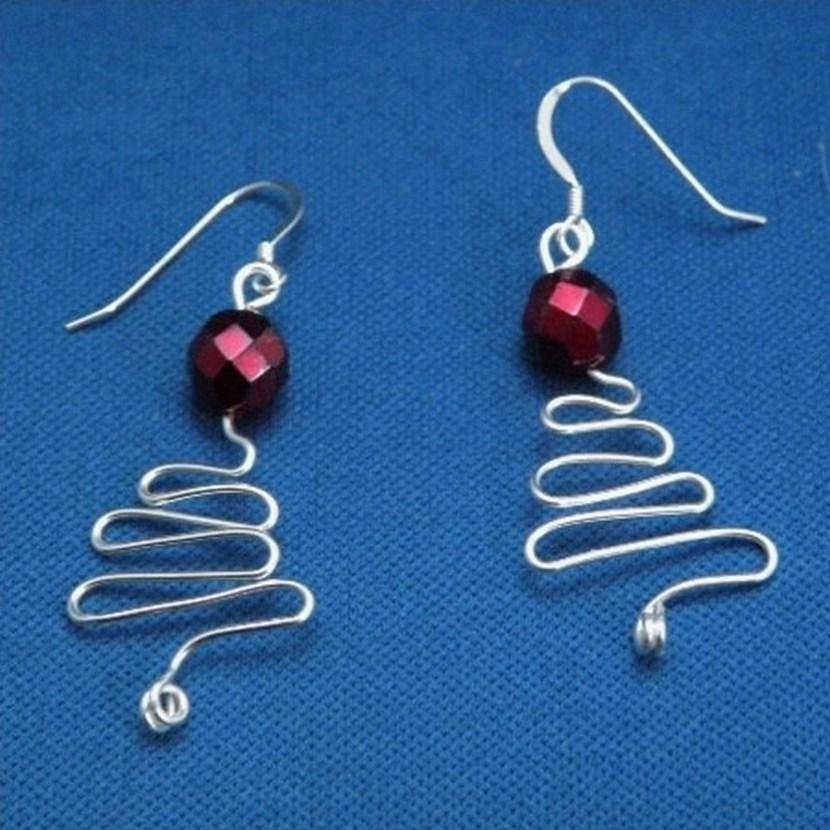 Christmas tree wirework earrings