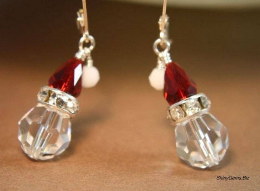 HoHoHo Santa is Coming Swarovski crystal earrings, Holiday Jewelry, Christmas Jewelry, Winter jewelry, SS lever back earrings. $24.00, via Etsy