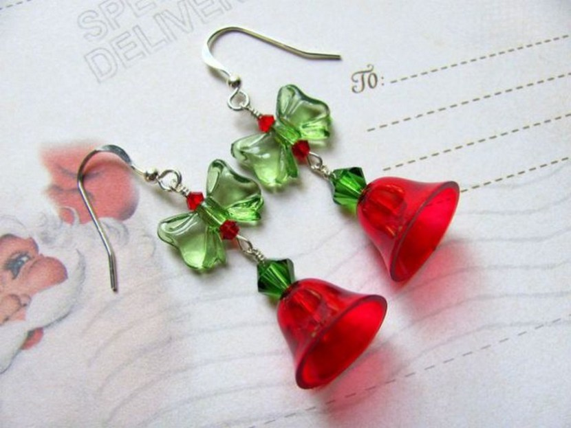 Red Christmas Bell Earrings – Vintage Plastic Bells Swarovski Crystals Plastic Bow