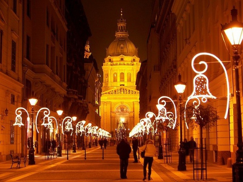 The Zrínyi street and the Basilica with Christmas lights, Budapest, Hungary