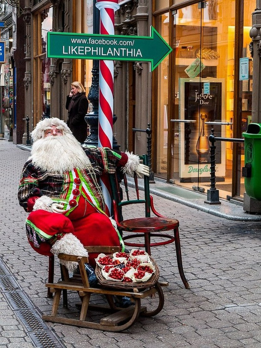 Santa Claus at the Christmas market in Budapest, Hungary