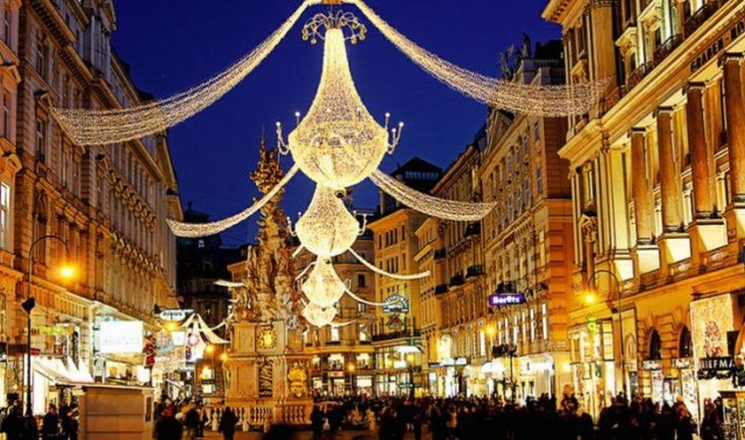 Famous shopping street in Budapest with Christmas lights