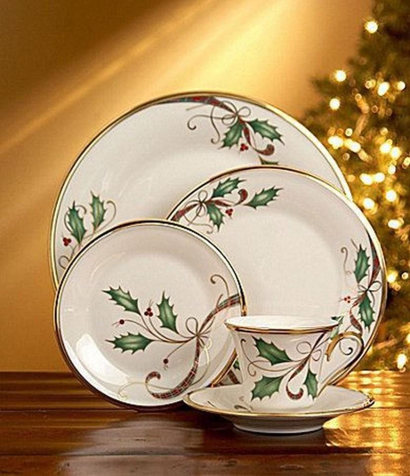 Gold rimmed Christmas china