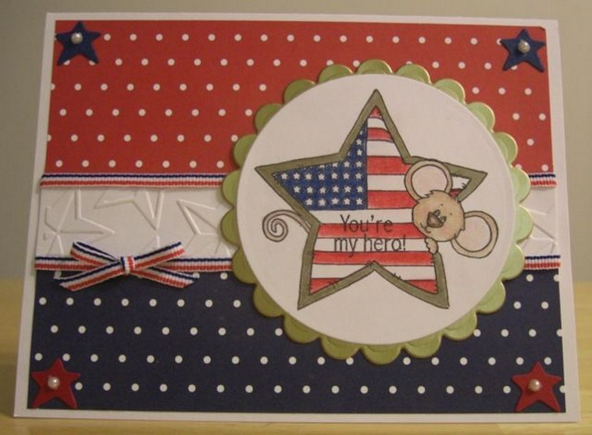 Great patriotic card… love the white star embossed strip