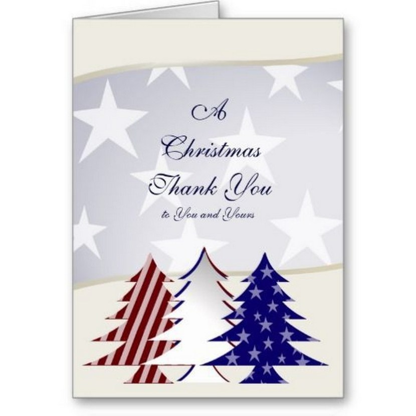 Patriotic Christmas Trees, Military Thank You Cards