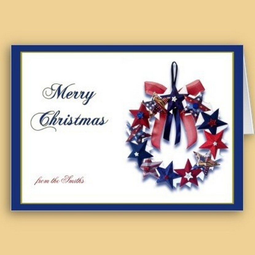 Patriotic Star Wreath Christmas Greeting Card