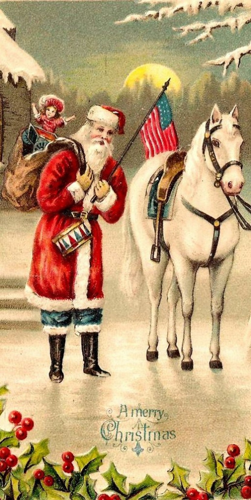 Santa Claus, St. Nick, Father Time, Christmas with American flag