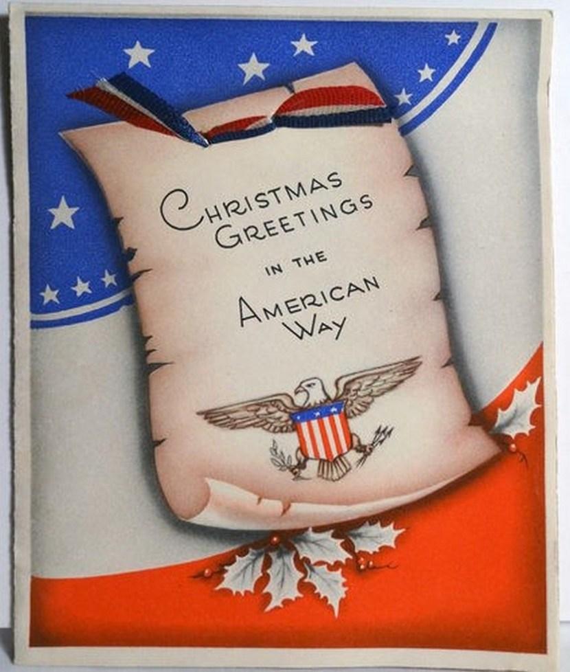 40s WWII Patriotic American Way-Vintage Christmas Card
