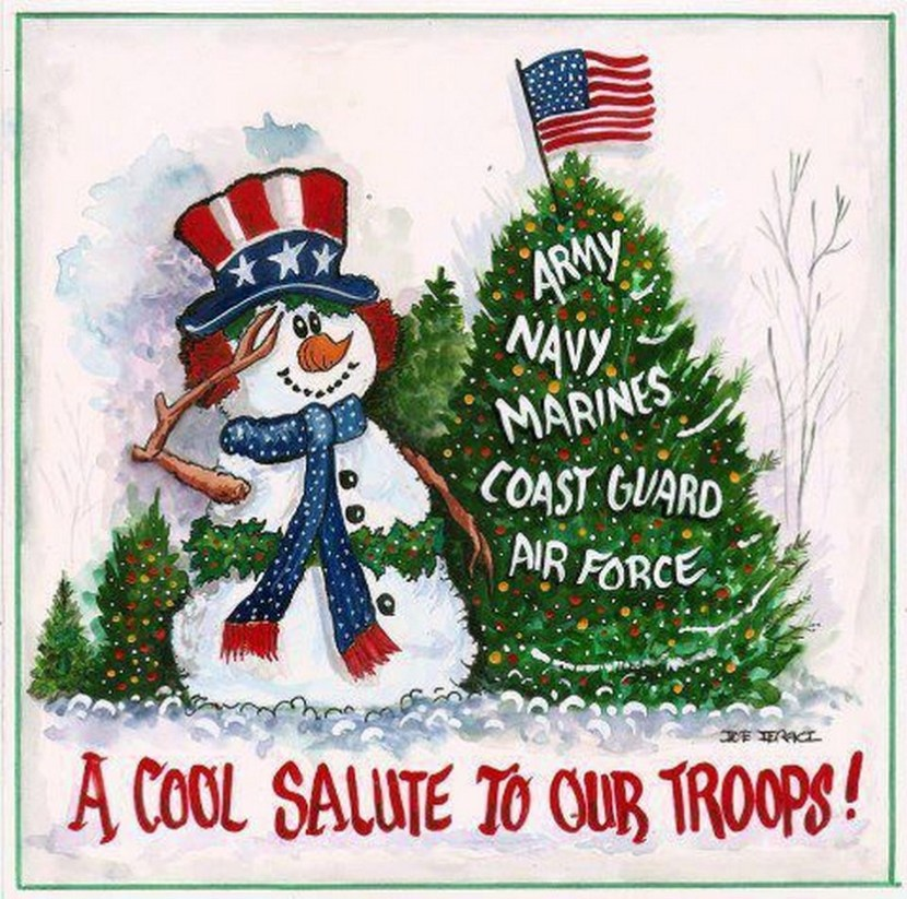 'A cool salute to our troops' patriotic Christmas card