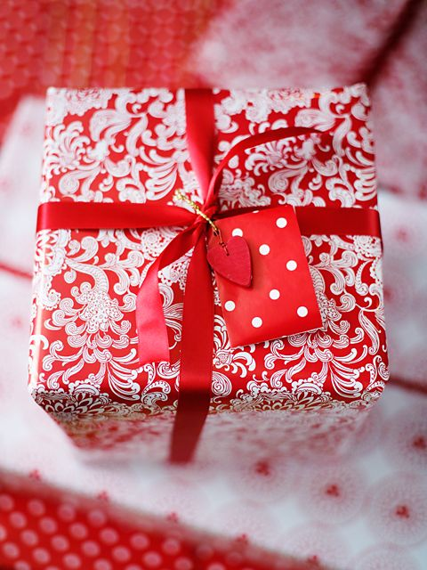 A Christmas present wrapped in red and white