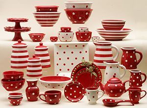 Dishes table setting, serving pieces in polka dots & stripe combo - comes in ALL colors too!