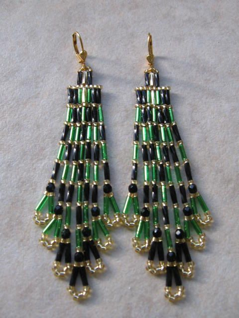 Green & Black Christmas Tree Seed Bead Earrings