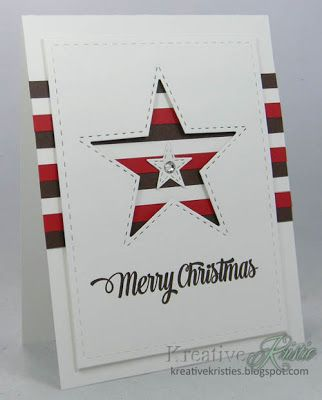 Handmade Christmas card using red, white and blue striped paper