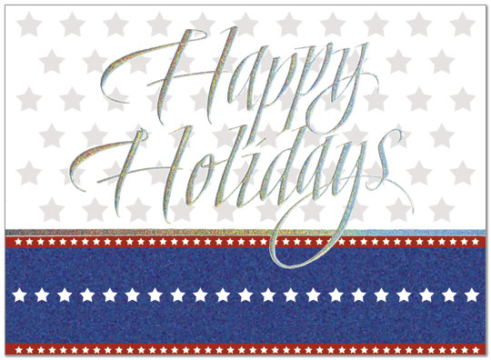 Holiday Stars - A patriotic holiday card featuring silver sparkle foil embossing