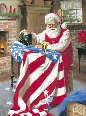 Of course Santa is Patriotic - Old Fashioned Christmas Memory