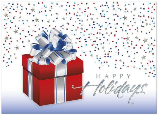 Patriotic Package - This patriotic holiday card with a beautifully wrapped gift is a wonderful way to show your support for the USA