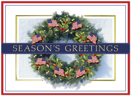 Patriotic Wreath – This patriotic holiday card includes a holiday wreath with American flags