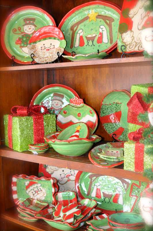 Precious Christmas Hand-made and painted pottery from Etta, MS - The reds, greens, creams, and browns will mix with any of your Christmas dinnerware