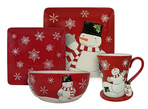Snowman Christmas dinnerware sets, Christmas dish sets, holiday dinnerware sets, holiday plates