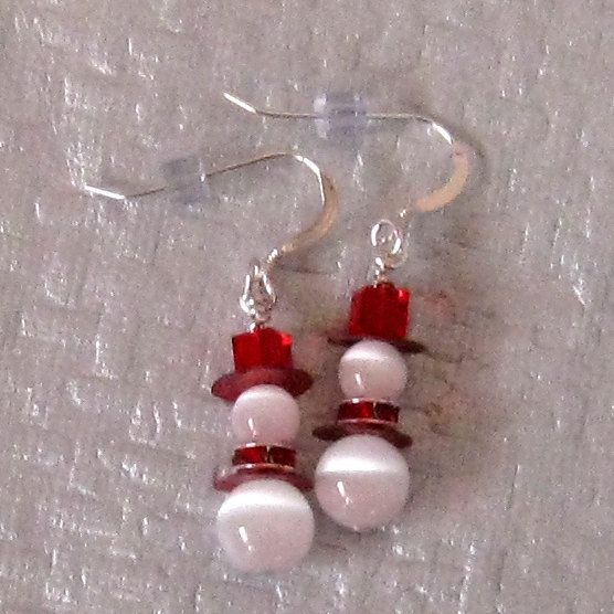 Snowman Earrings, Red Swarovski Crystal Earrings, Holiday Jewelry, Winter Earrings – $12 on Etsy