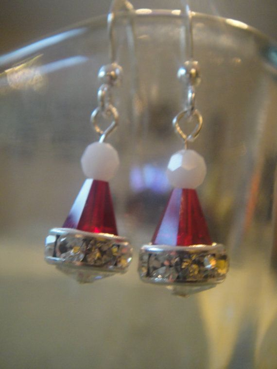 Swarovski Crystal Santa hat earrings by acalabro18 on Etsy