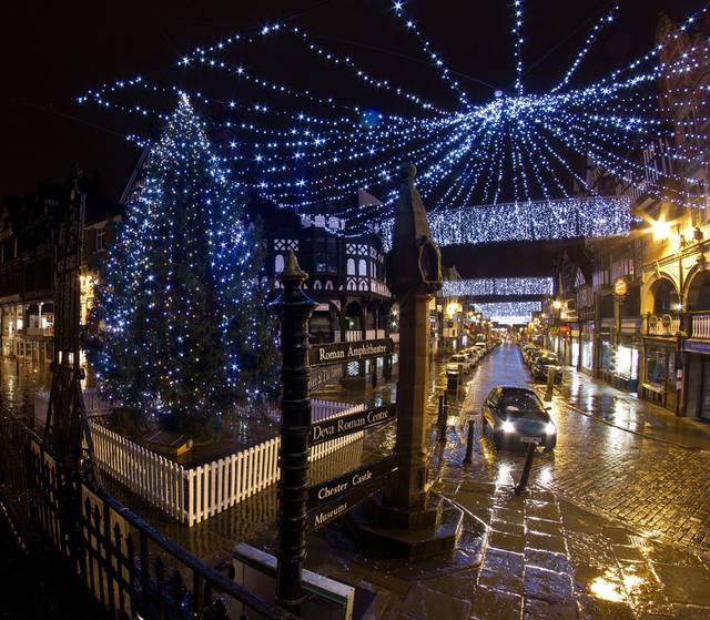 Christmas lights in Chester, UK