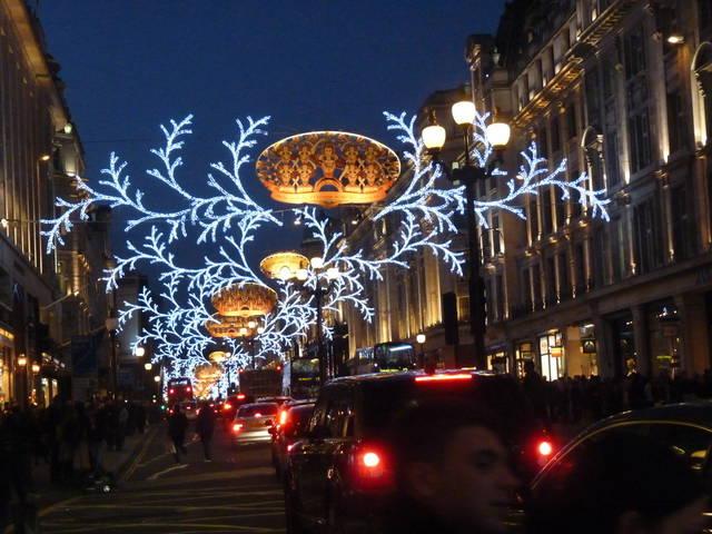 Christmas lights in London, UK