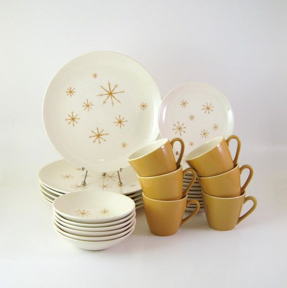 Vintage Star Glow Dinnerware Set, Service for 6, Royal China Mid-Century Modern Atomic Dinnerware 1960s
