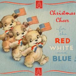 Vintage patriotic Christmas card – Greetings from home