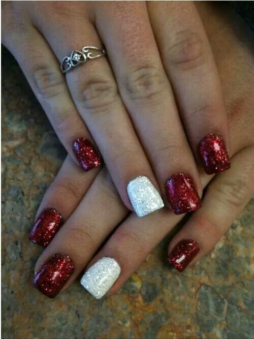 white-and-red-nails