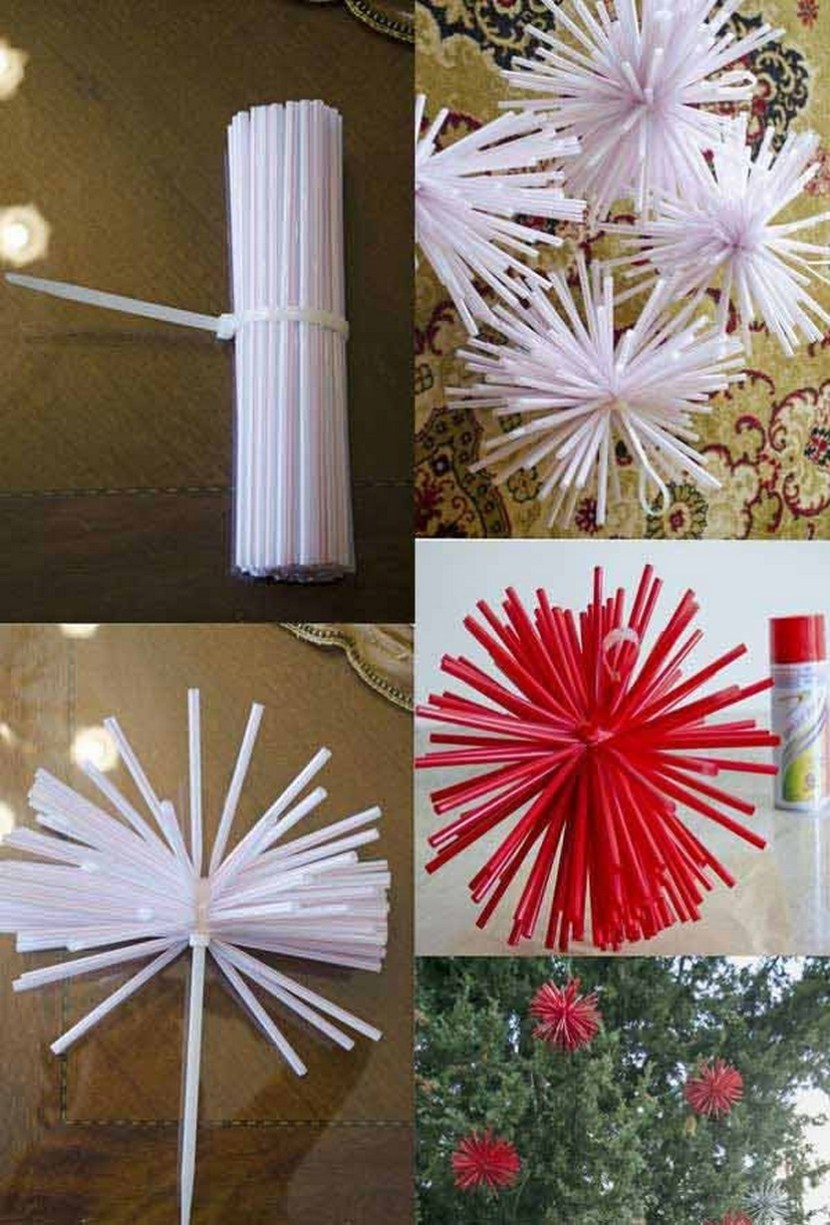 Drinking straw christmas decoration