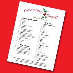 Christmas Spirit Campaign Wish List