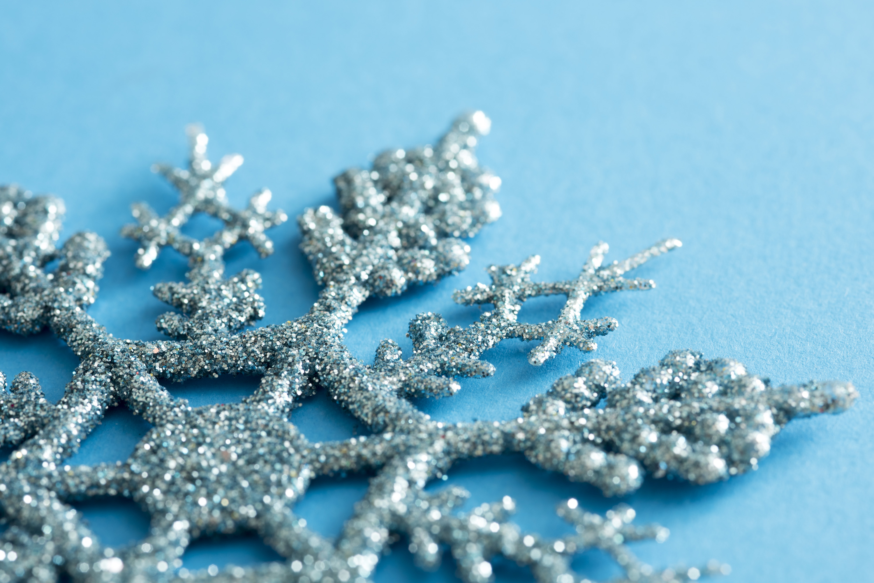 photo of christmas snowflake background with copy space