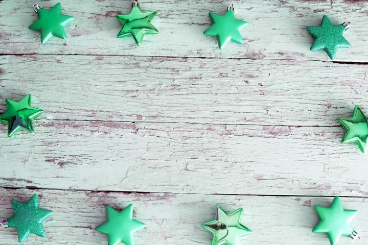 Photo Of Green Christmas Star Border On Rustic Wood Free